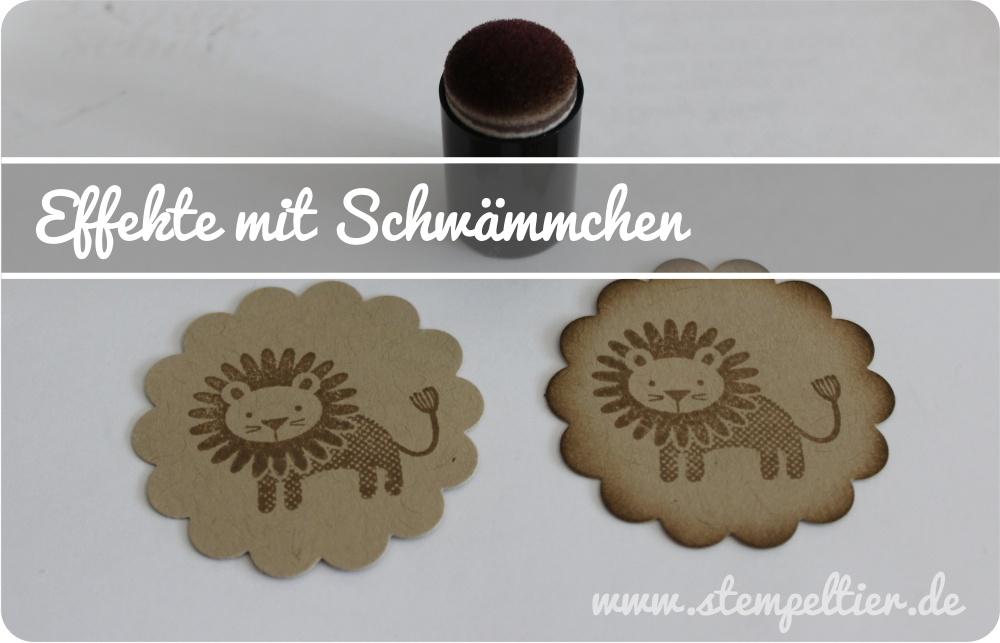 Stempeltier StampinUp Geschenkboxen punchboard zoo babies lion schwämmchen boxes taupe Basics Technik colorieren