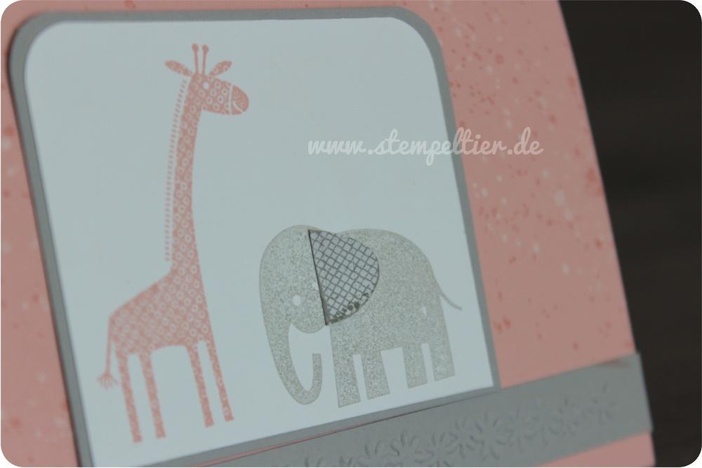 Stempeltier StampinUp Einladung Karte Kirschbluete Schiefergrau Zoo Babies  Taufe Christening Girl Mädchen