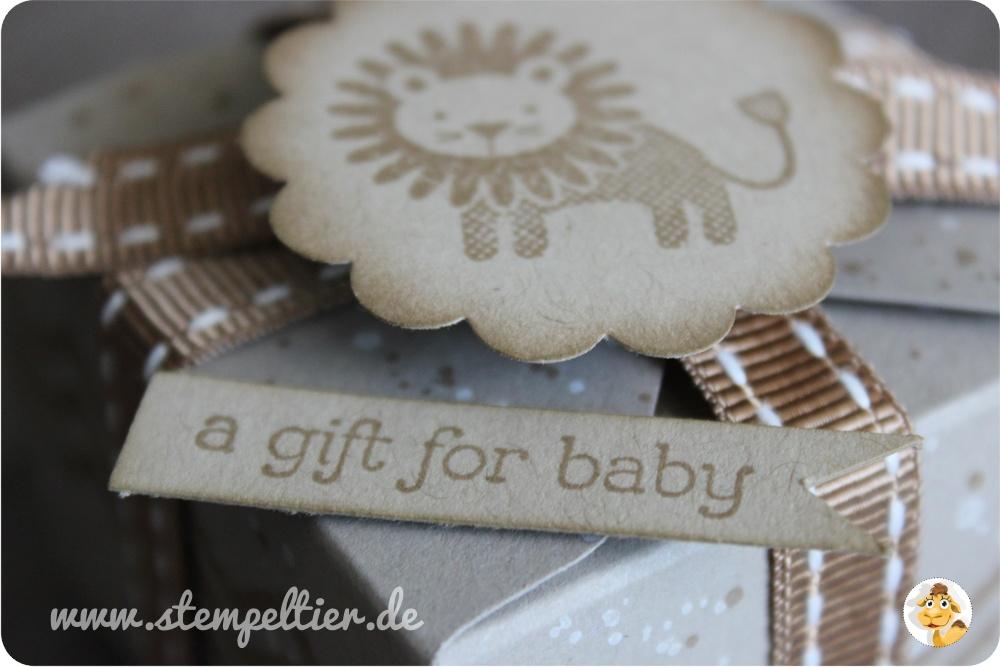 Stempeltier StampinUp goodies Geschenkboxen punchboard zoo babies lion schwämmchen boxes taupe
