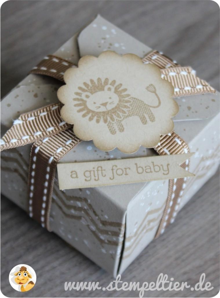 Stempeltier StampinUp Geschenkboxen punchboard zoo babies lion schwämmchen boxes taupe