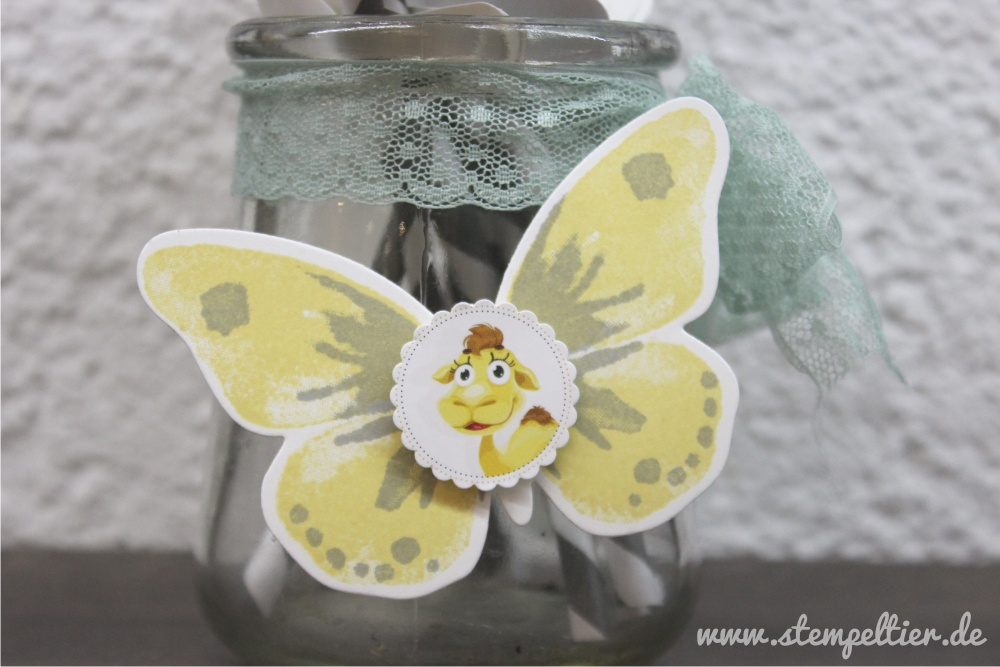 stampinup butterfly schmetterling watercolor wings grey schiefergrau party deko strohhalm vonherzen gelb thinlits Wortfensterstanze