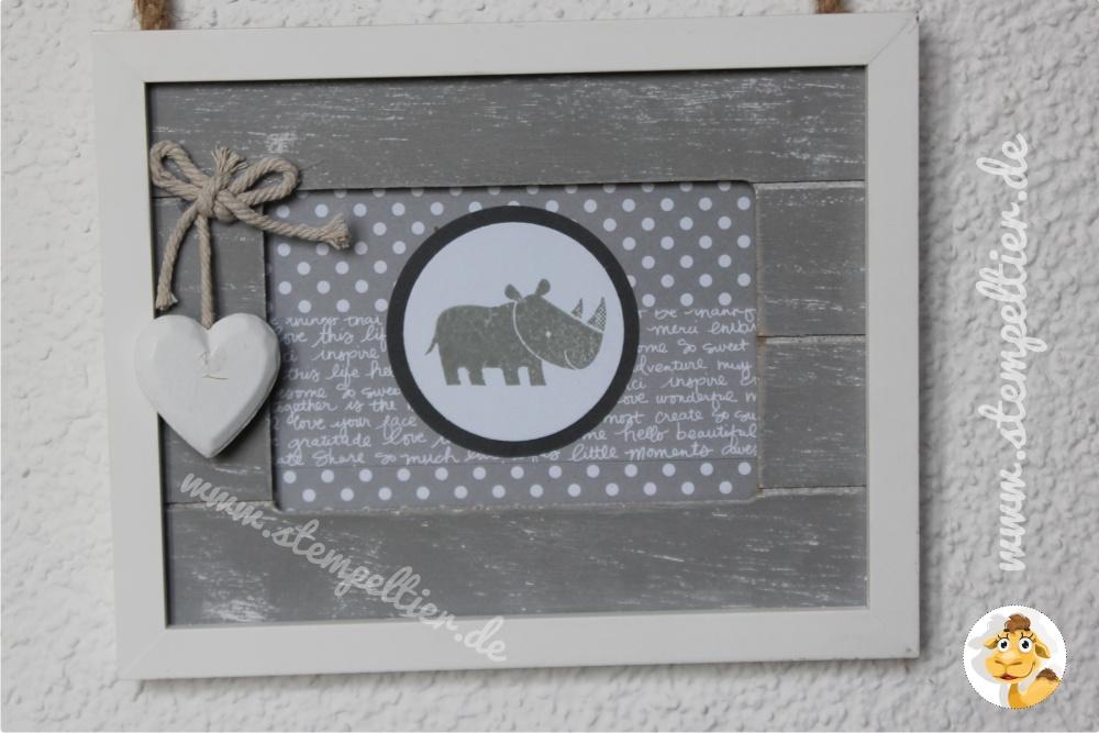 Stampin Up stempeltier zoobabies grey Home decoration Bilderrahmen gestalten fotorahmen frame grey schiefergrau Nashorn Rhino neutrals