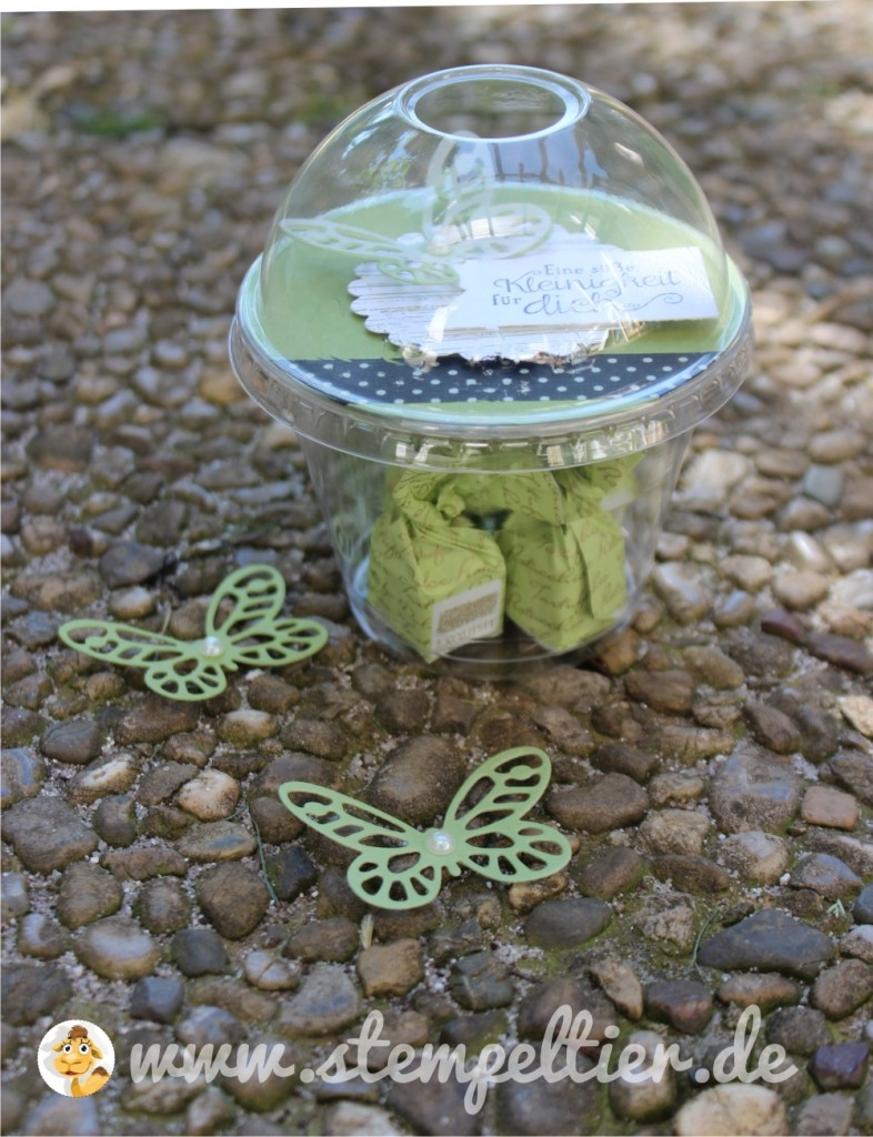 stampin up butterfly schmetterling domecup smoothie becher verpacken verpackung wonderful wings thinlits olivgrün washi tape 01