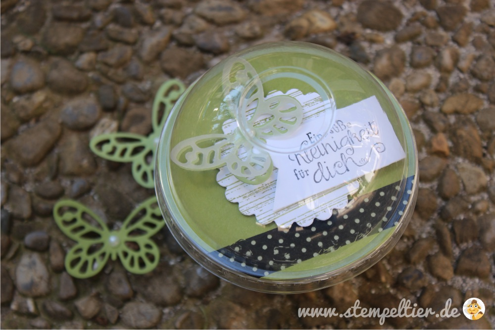stampin up butterfly schmetterling domecup smoothie becher verpacken verpackung wonderful wings thinlits olivgrün washi tape 03