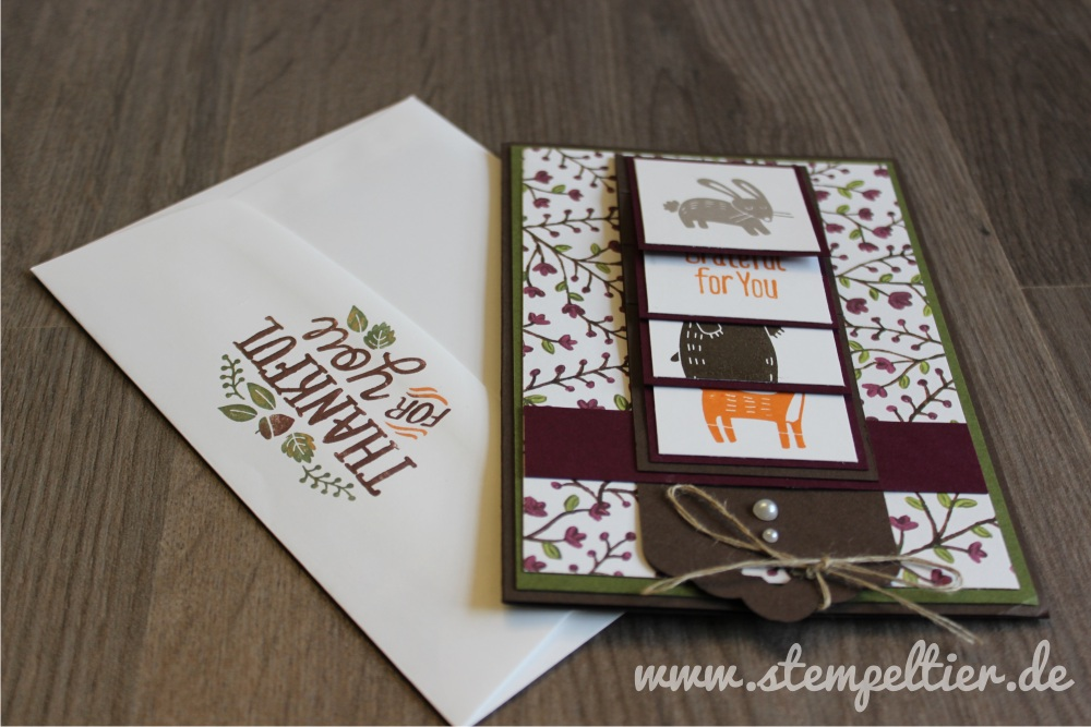 stampin up herbst thankful forest friends wald fuchs hase bär autumn waterfall card