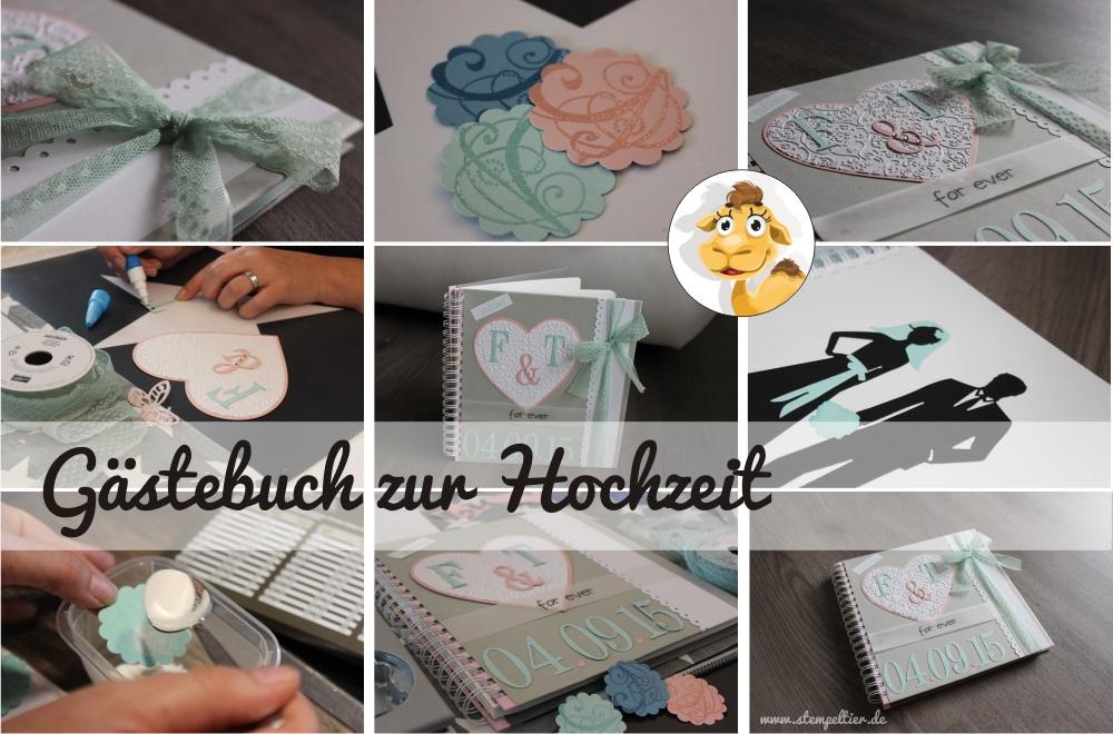 stampin up stempeltier Hochzeit wedding Gästealbum guest book minzmakrone kirschblüte