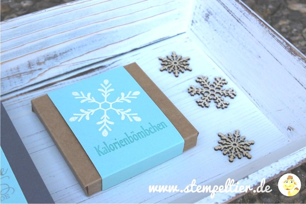 stampin up stempeltier flockenzauber flurry of wishes feiertage winterkatalog 2015 kalorienbömbchen verpackung yogurette