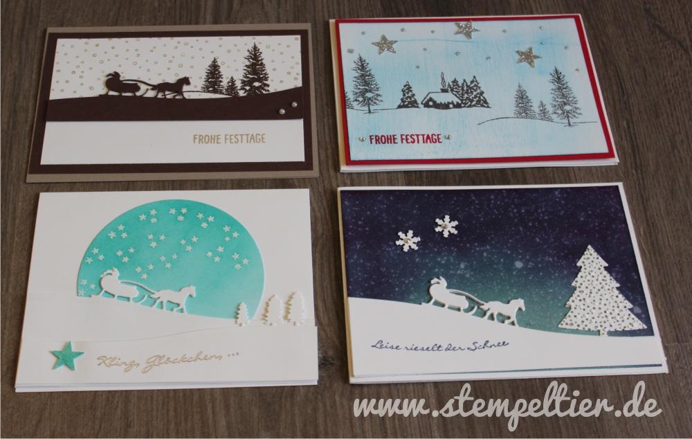 stampin up winterkarten schmeemann kling glöckchen schlittenfahrt winter