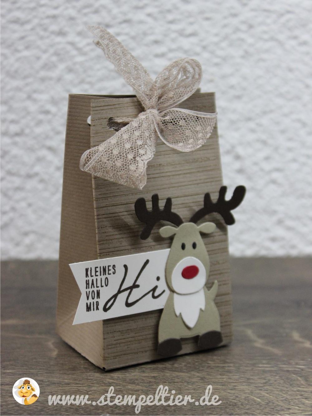 rentier reindeer stampin up stempeltier leise rieselt savanne weihnachtsgrüße winter weihnachten christmas bag tüte