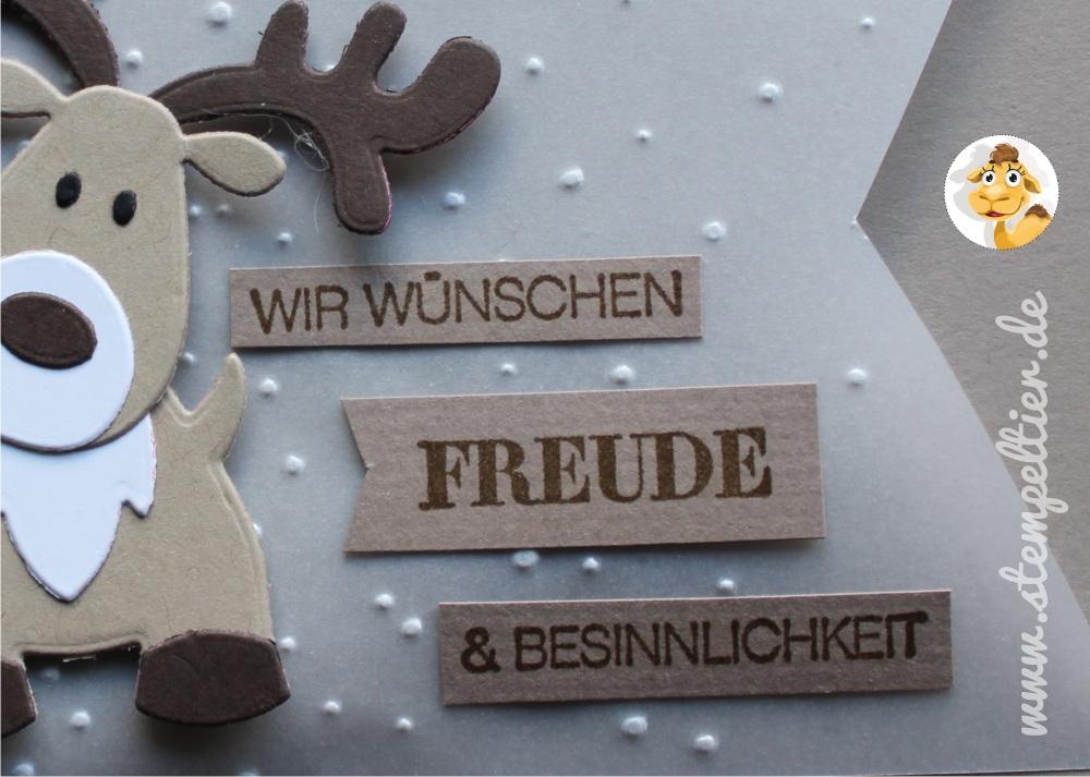 rentier reindeer stampin up stempeltier leise rieselt savanne weihnachtsgrüße winter weihnachten christmas card