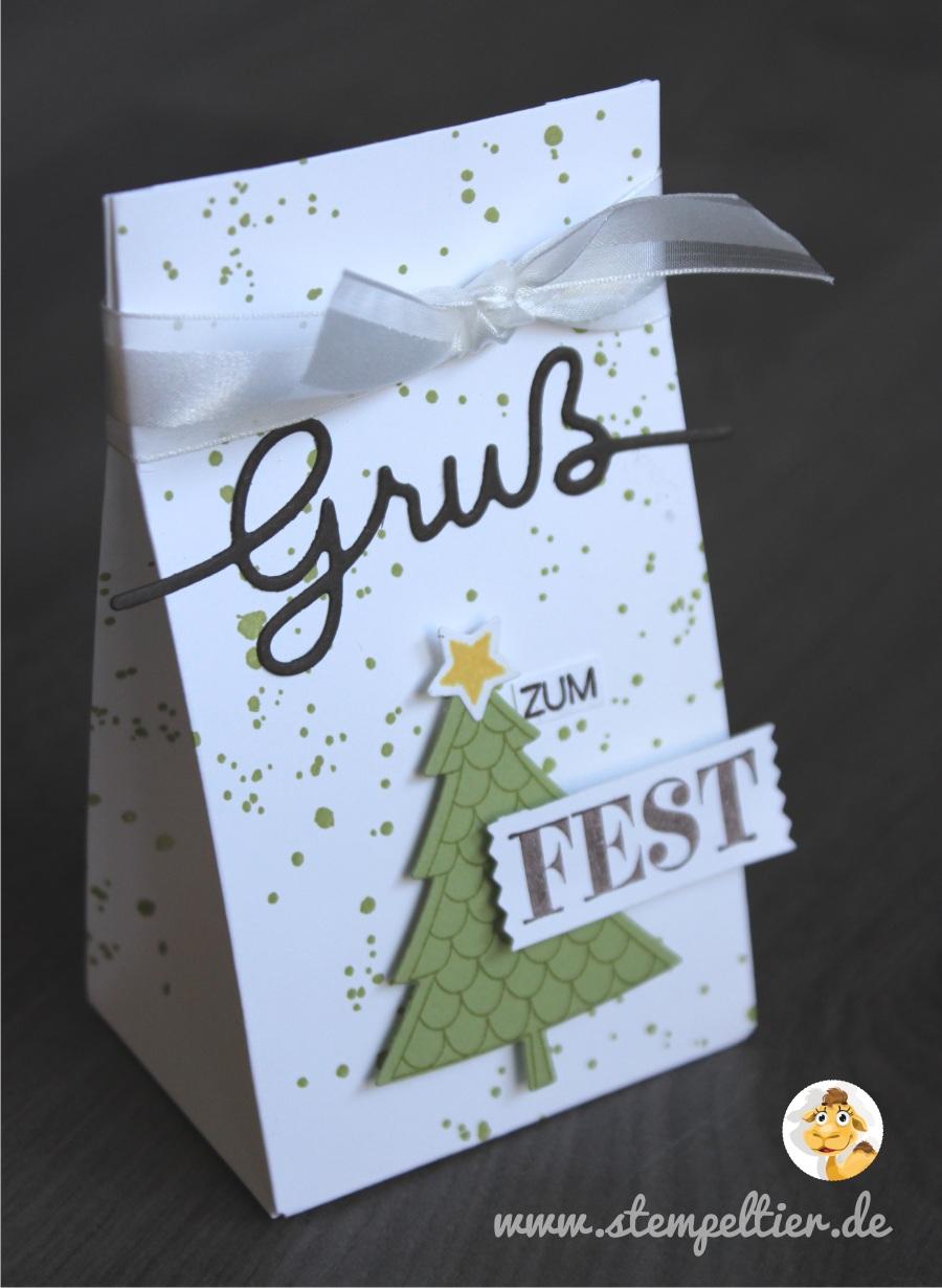 stampin up christmas tree gruß zum fest weihachtliche Worte tannenbaum peaceful pines gift bag Geschenktüte stempeltier