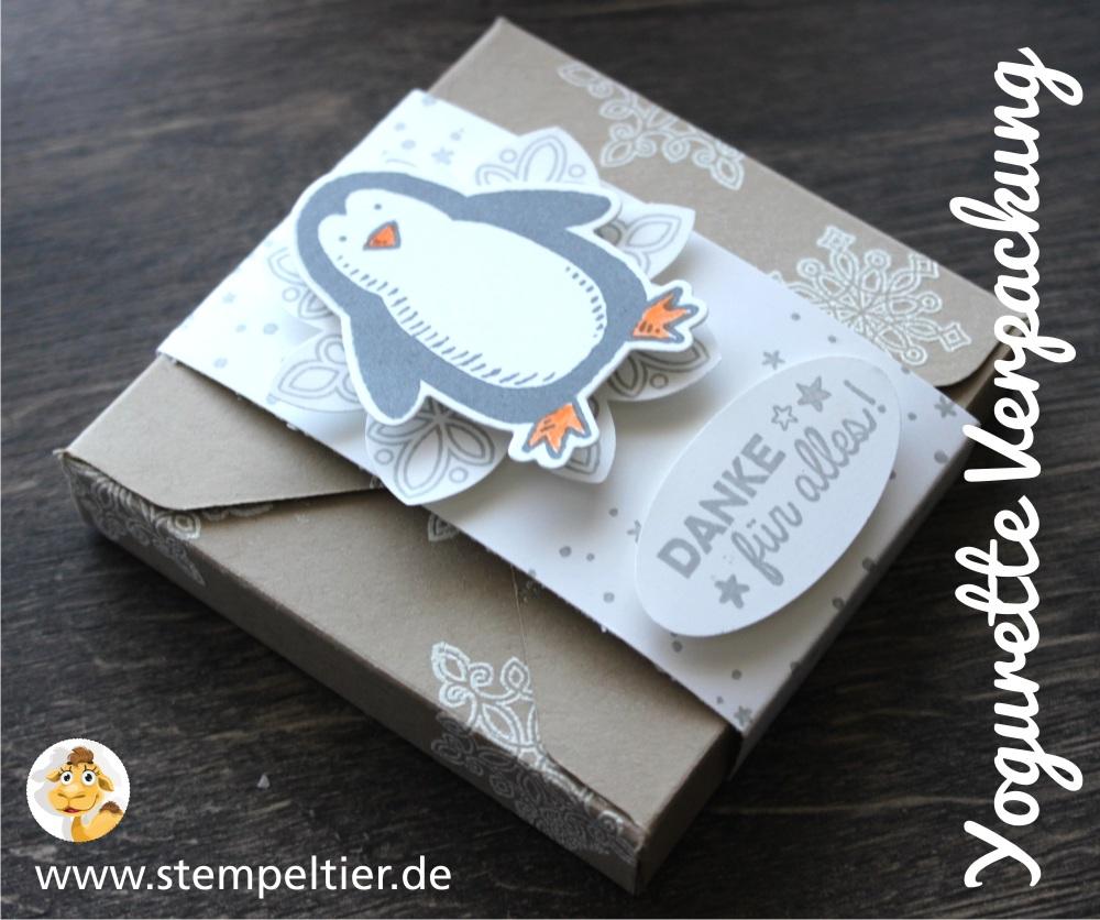 stempeltier stampin up yogurette verpackung es schneit pinguin