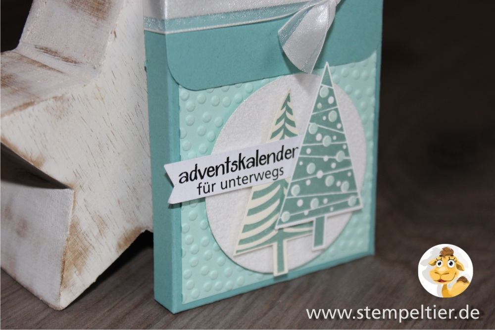 2015_stampin up stempeltier adventskalender unterwegs to go calender smarties blisterkalender christbaumfestival tannenbaum stanze verpackung anleitung