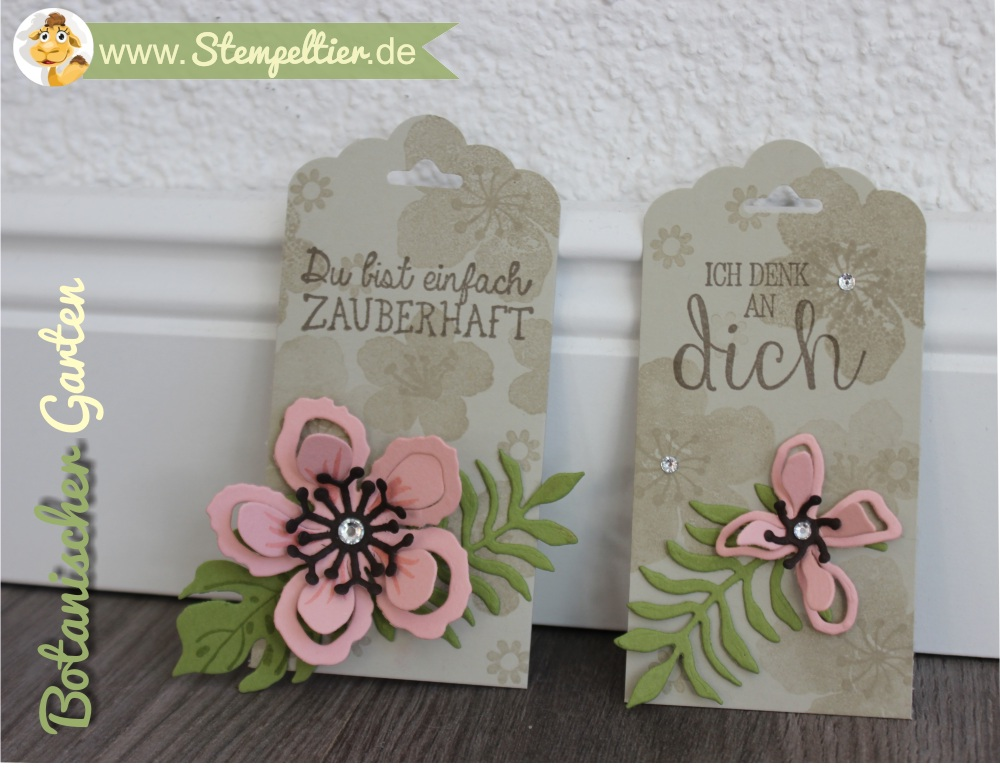 SU stampin up sommer stempeltier botanical blooms rosa anhänger verpacken zauberhaft