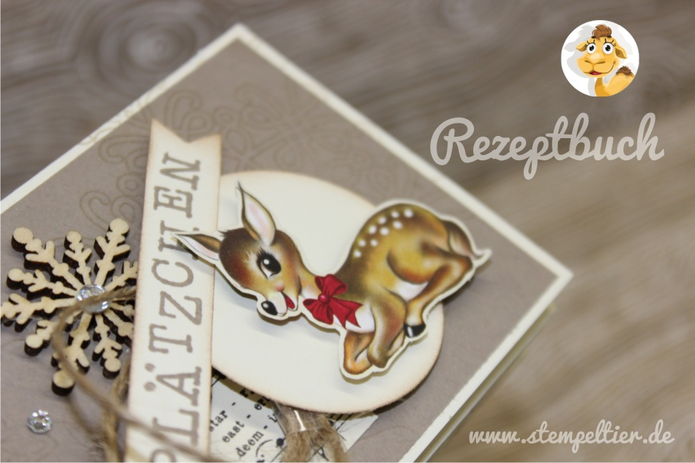plätzchen stempeltier stampin up heimelige weihnachten DSP kitz bambi reh plätzchen rezept minibuch weihnachten 1
