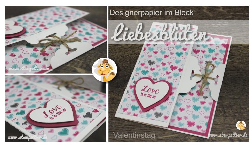 Stampin up DSP Liebesblüten love is in the air stempeltier valentinstag stanze gewelltes etikett