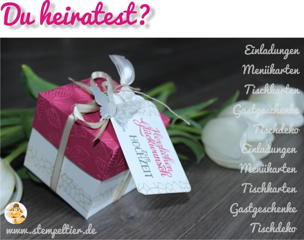 Hochzeit Stampin Up Stempeltier Heiraten Einladung Gastgeschenk  Explosionsbox Schmetterling Wedding Hocheztismesse Frankenried
