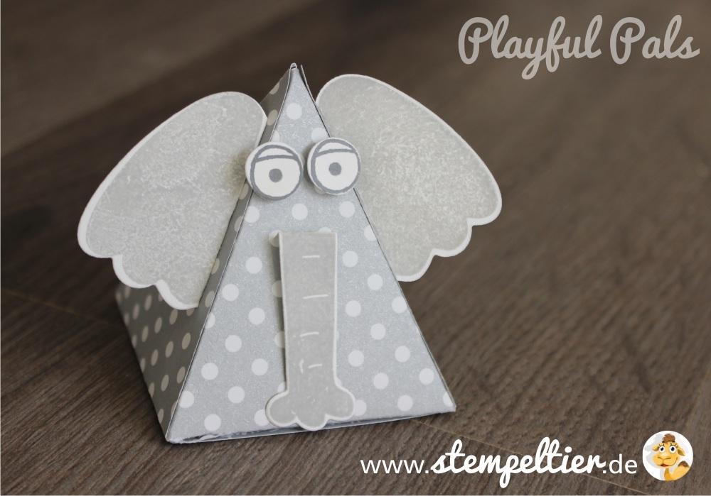 stampin up playful pals pyramid dreiecksbox thinlit Freunde mit Ecken und Kanten Elefant elephant verpacken stempeltier