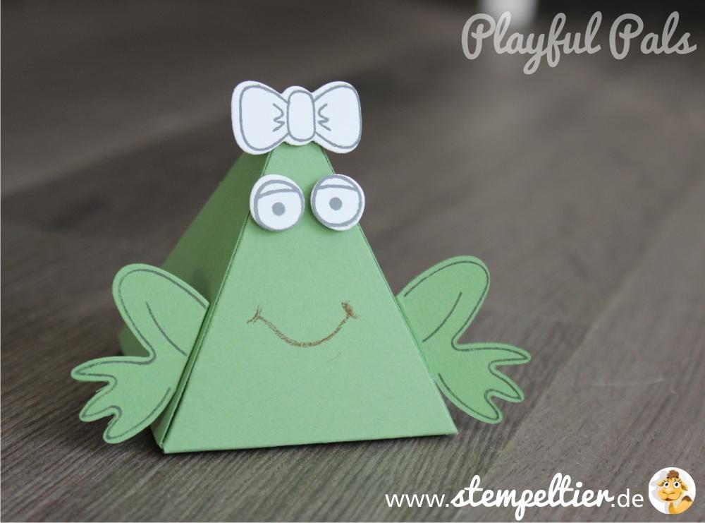stampin up playful pals pyramid dreiecksbox thinlit Freunde mit Ecken und Kanten Frosch frog verpacken stempeltier
