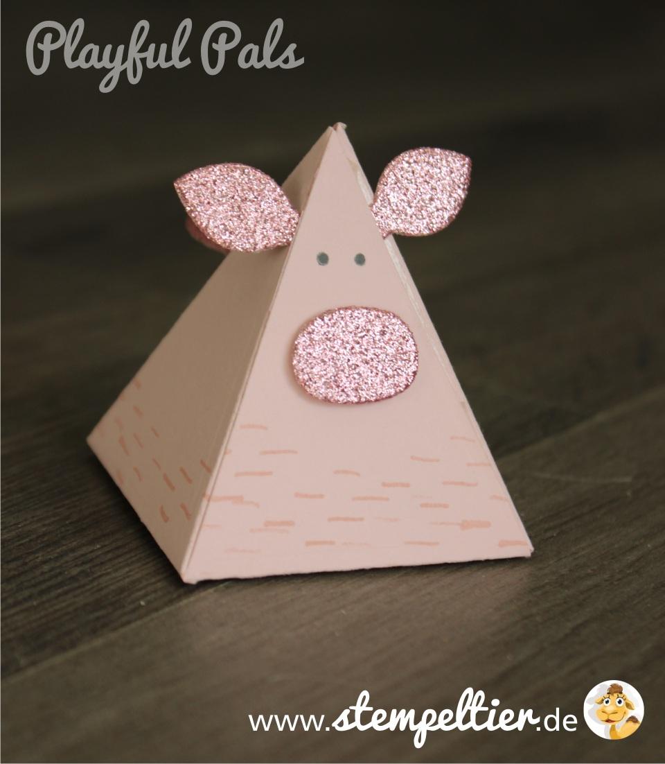 stampin up playful pals pyramid dreiecksbox thinlit Freunde mit Ecken und Kanten Schwein pig verpacken stempeltier