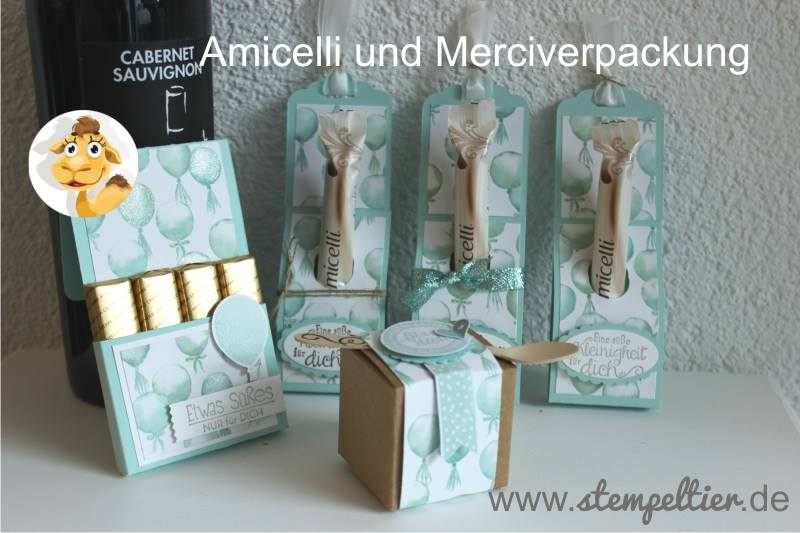 stampin up DSP Geburtstagsstrauß Amicelli Merci Verpackung Luftballons 2016