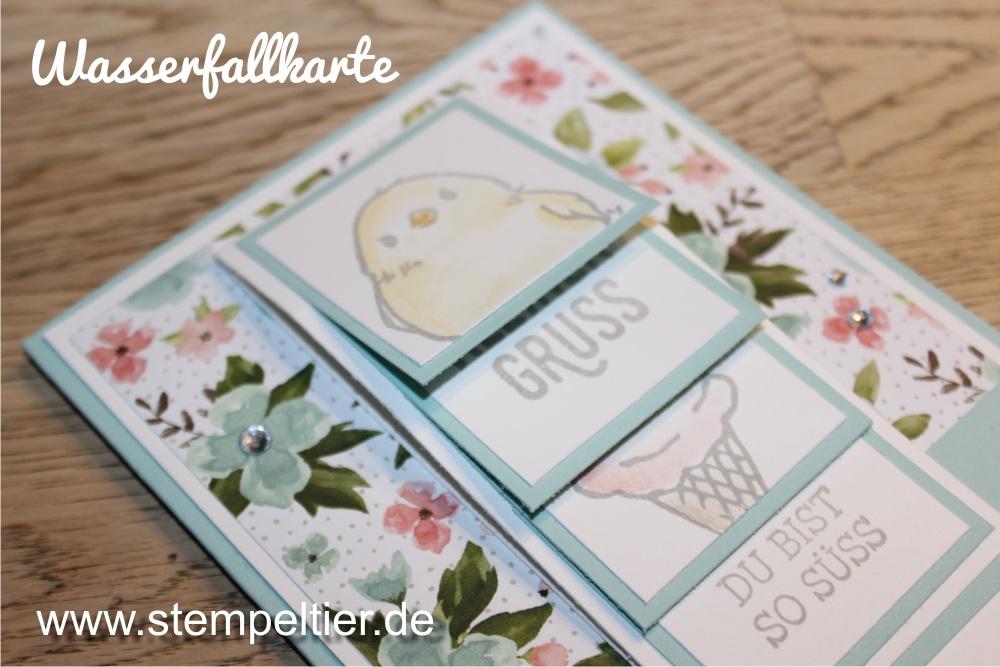 stampin up SAB saleabration wasserfallkarte küken so süß Geburtstagsstrauß pastell Technik waterfall technique stempeltier