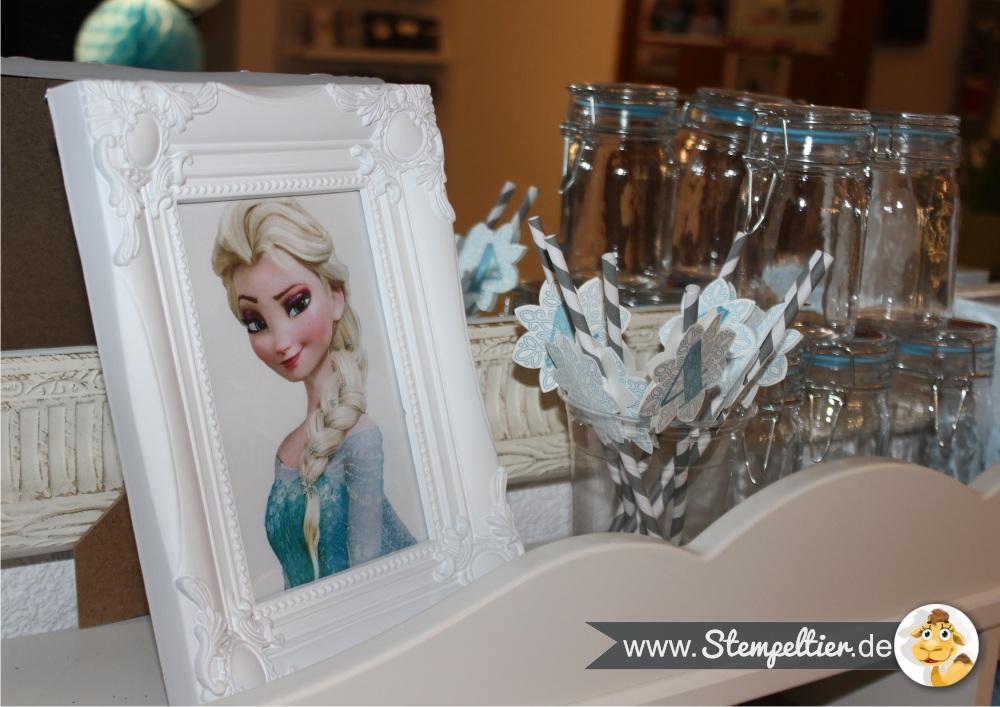 elsa frozen eiskönigin kindergeburtstag Bilderrahmen deko stampin up einladung invitation stempeltier stempelnd durchs jahr party