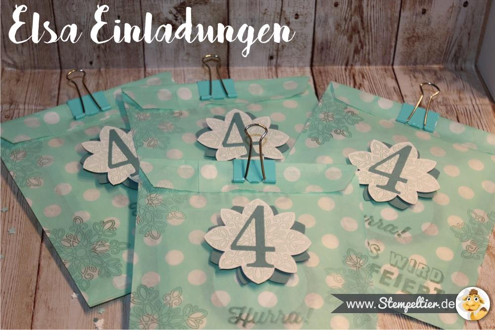 elsa frozen eiskönigin kindergeburtstag deko stampin up einladung invitation stempeltier invitation papiertüten