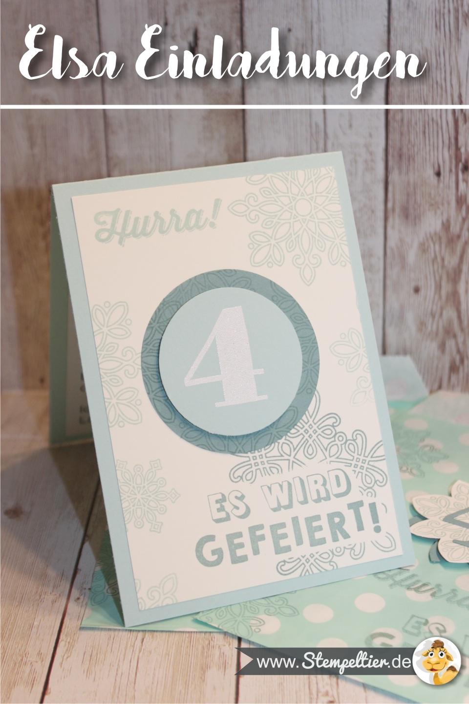 elsa frozen eiskönigin kindergeburtstag deko stampin up einladung invitation stempeltier