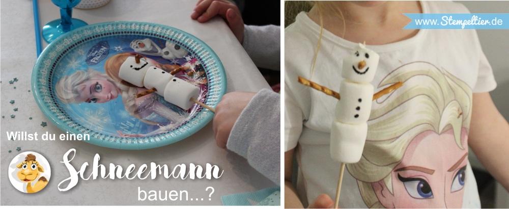 schneemann bauen eiskönigin olaf DIY kindergeburtstag snowman