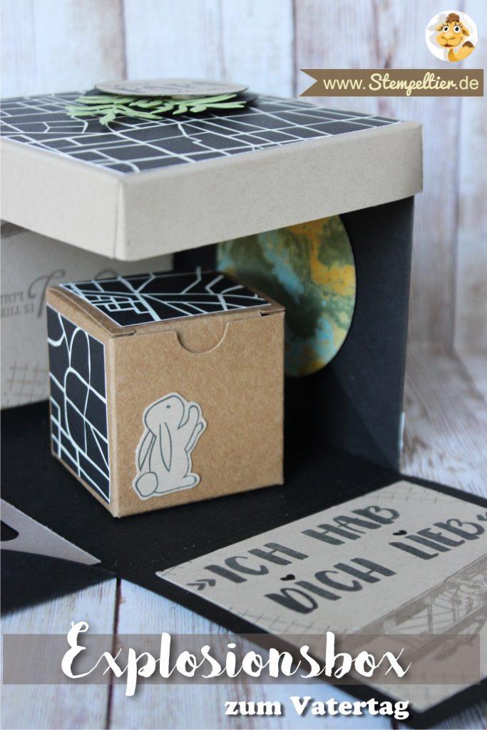 explosionsbox mini geschenkschachtel vatertag fathers day stampin up stempeltier männlich verpackung papierprojekt magisch