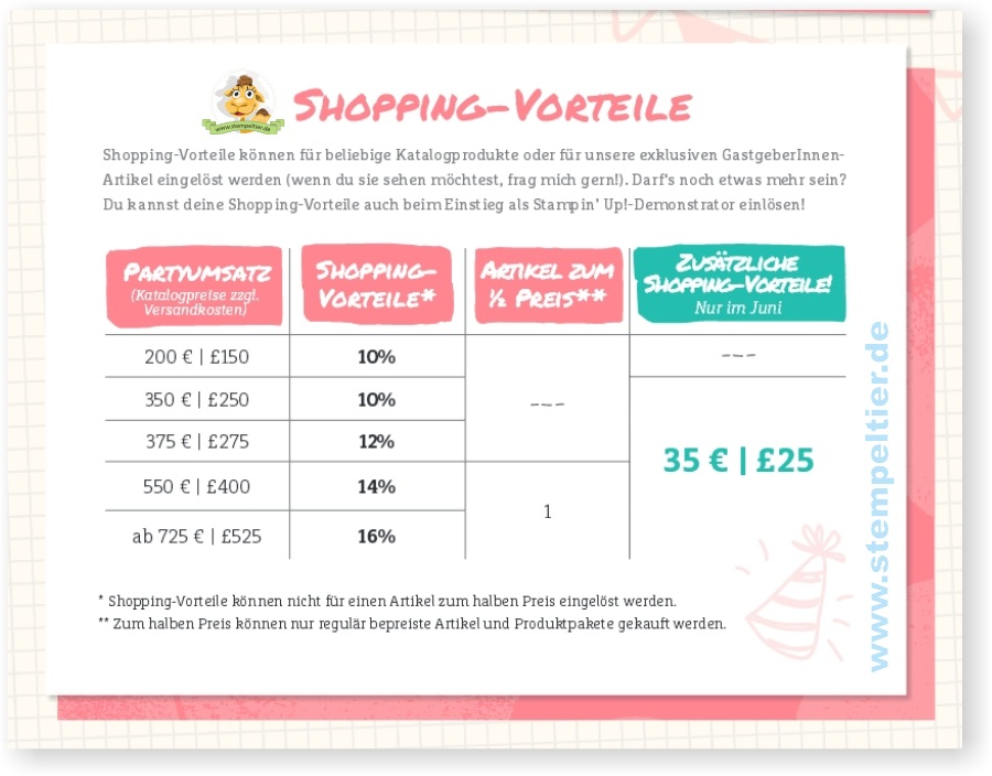 extra shoppingvorteile bei stampin up juni 2016 gastgeberin hostess extra rewards stempeltier