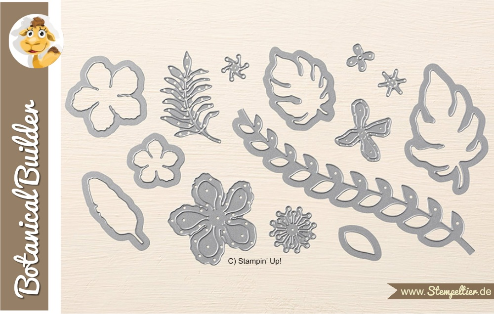 stampin up botanical builder thinlits pflanzen potpourri blätter leaves