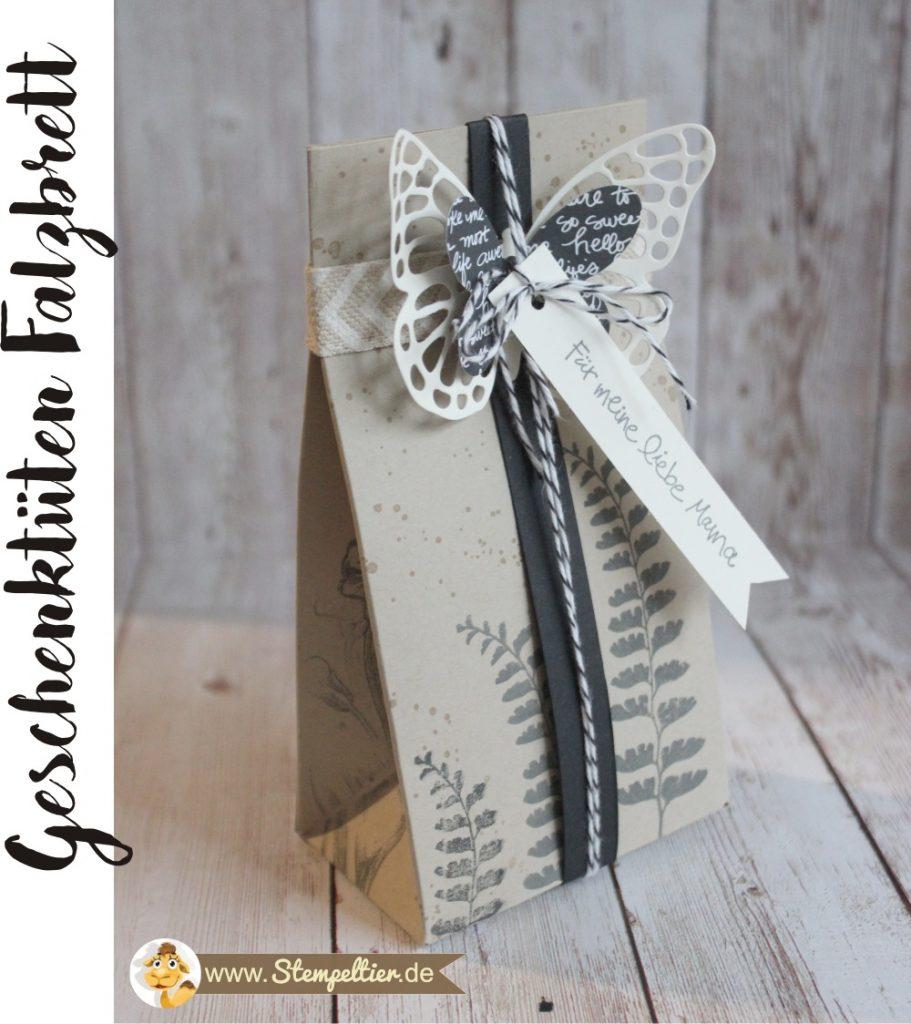 stampin up geschenktüten falzbrett gift bag punchboard butterfly framelits schmetterling watercolor wings stempeltier verpackung muttertag geniale grüße