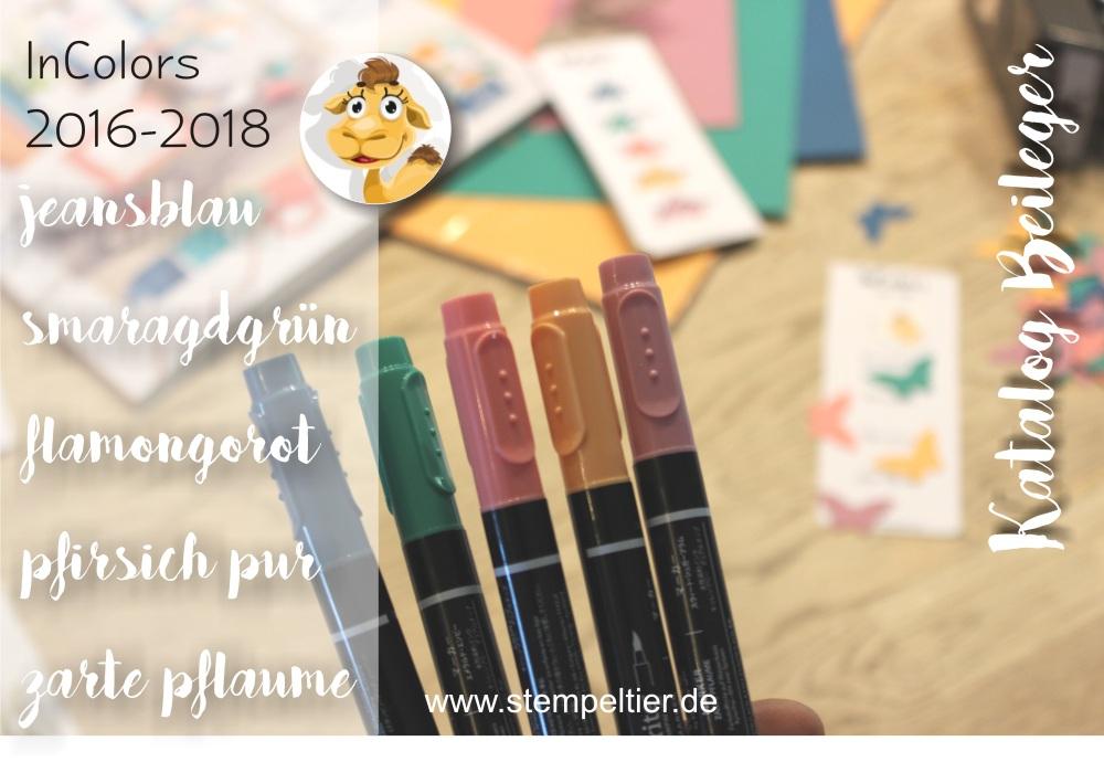 stampin up incolors 2016 2018 smaragdgrün pfirsich pur flamingorot jeansblau lesezeichen bookmarks stempeltier katalog