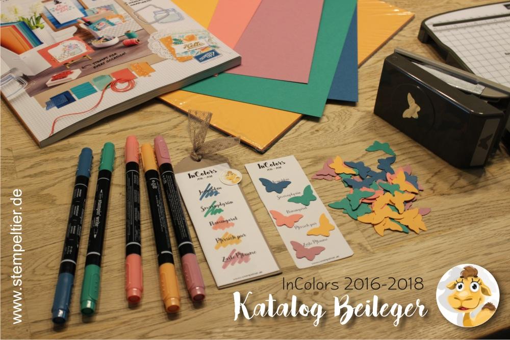 stampin up incolors 2016 2018 smaragdgrün pfirsich pur flamingorot jeansblau lesezeichen bookmarks stempeltier