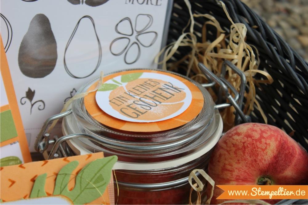 Obstgarten Geschenkkorb von Stampin Up mit Fresh Fruit in Pfirsich Pur peekaboo peach made by Stempeltier geschenk Marmelade Glas