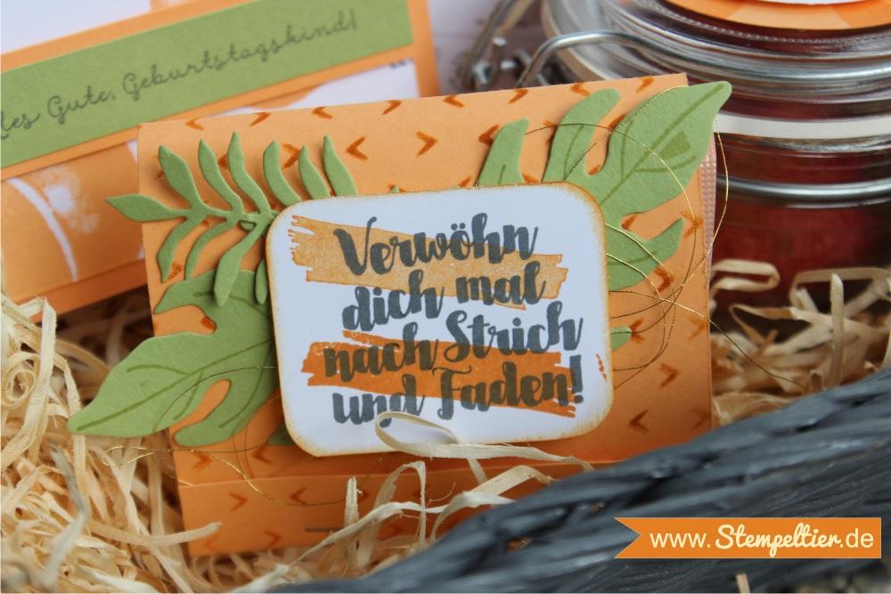 Obstgarten Geschenkkorb von Stampin Up mit Fresh Fruit in Pfirsich Pur peekaboo peach made by Stempeltier geschenk gesichtsmaske