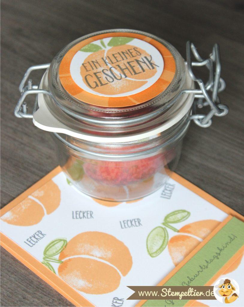 Obstgarten Geschenkkorb von Stampin Up mit Fresh Fruit in Pfirsich Pur peekaboo peach made by Stempeltier karte marmelade