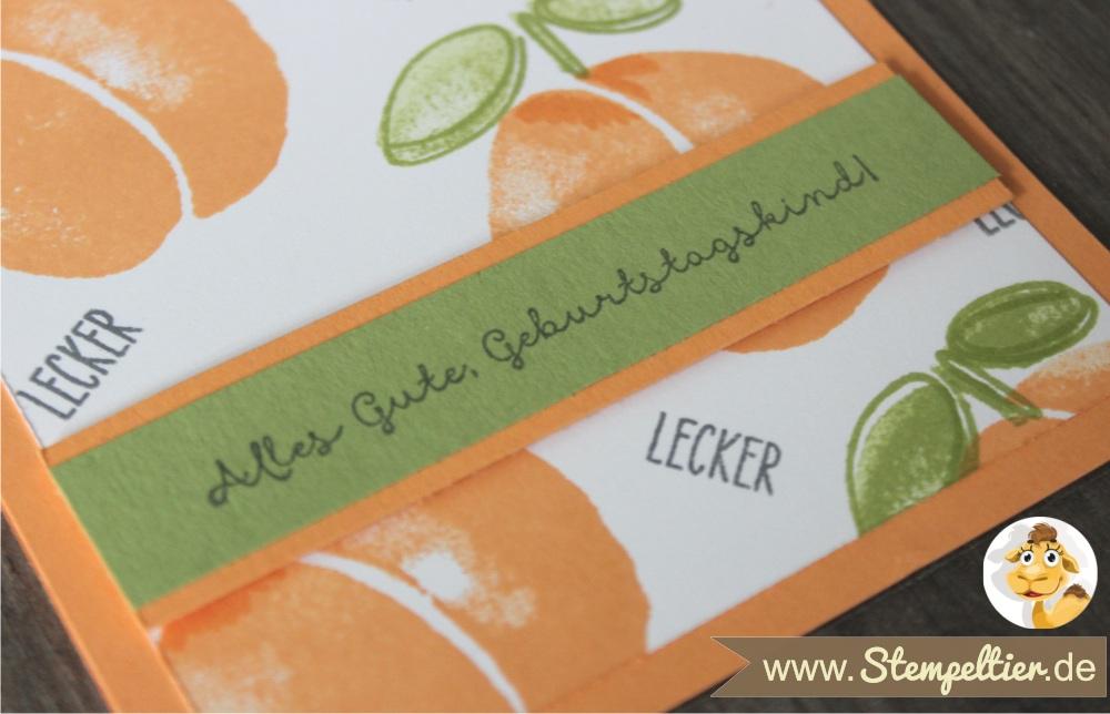 Obstgarten Geschenkkorb von Stampin Up mit Fresh Fruit in Pfirsich Pur peekaboo peach made by Stempeltier karte