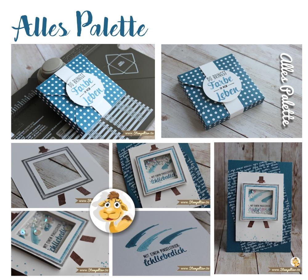 Stampin Up Alles Palette painters bringst farbe in mein leben Schüttelkarte Shakercard Pinselstrich Jeansblau Stempeltier