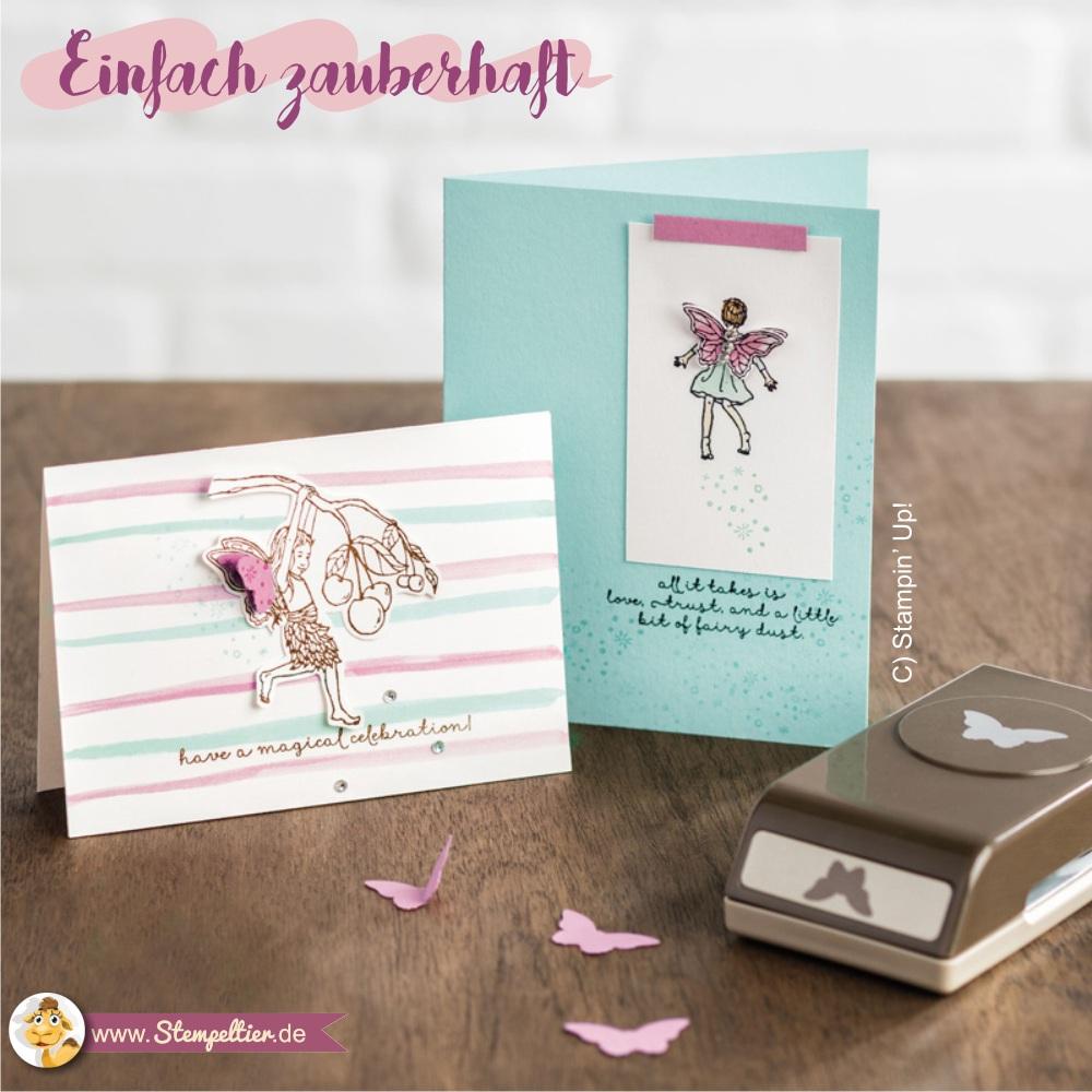 Stampin Up einfach Zauberhaft Feen Elfen Fairies kleiner Schmetterling Flügel ausstanzen Stempeltier Ideen