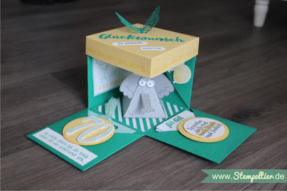 explosionsbox mit Stampin Up Geburtstagsbanner so viele Jahre große zahlen 70 Geburtstag smaragdgrün so viele jahre 1