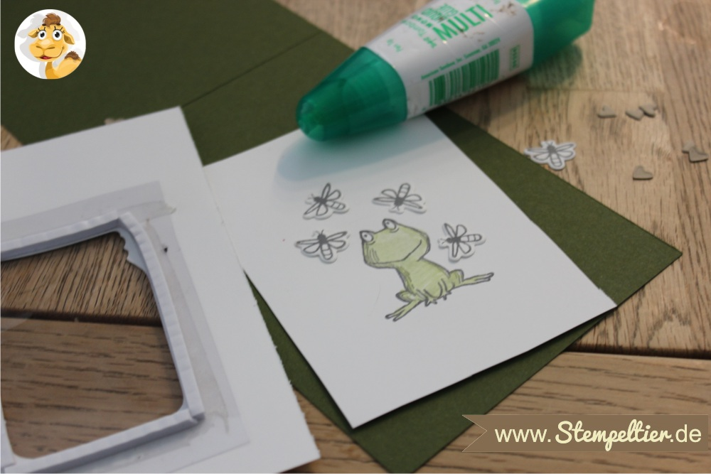 shaker card Stempeltier 1 glasklare Grüße und Love you lots Frosch von Stampin Up everyday Jars framelits frog