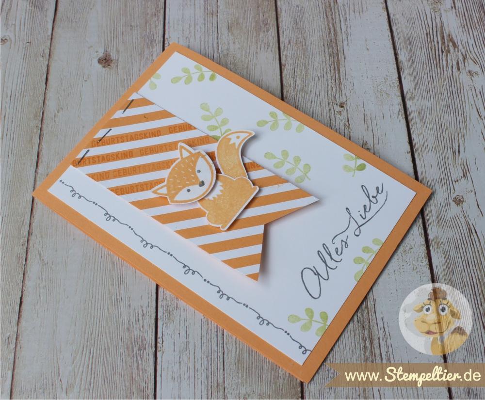 stampin up ausgefuchst foxy friends pfirsich pur peach alles liebe geburtstag Stempeltier Fuchsstanze