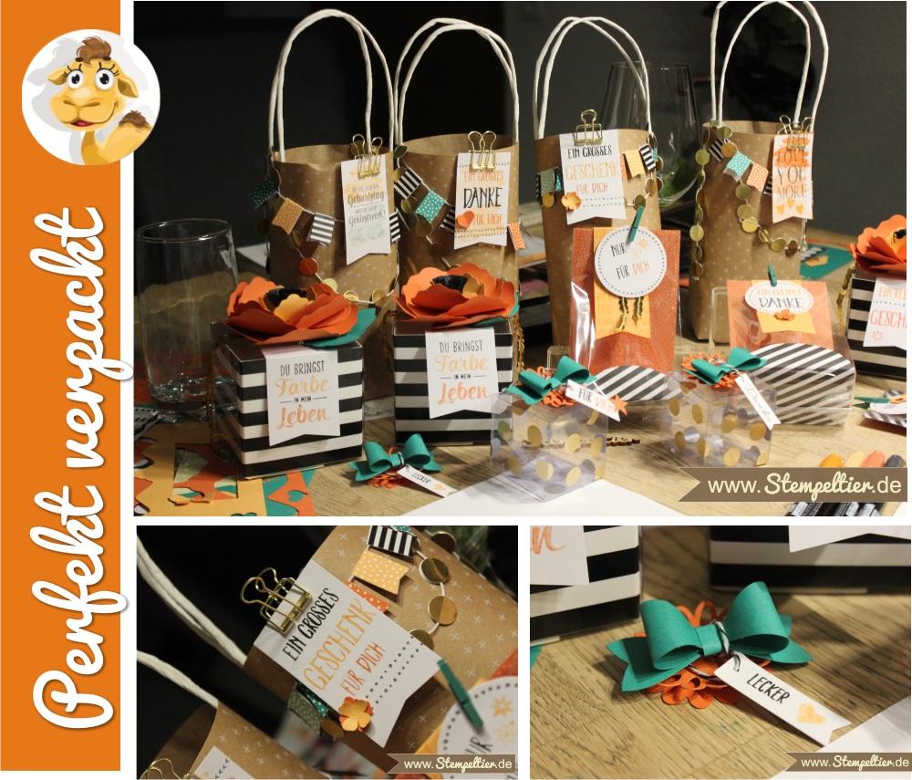 stampin up workshop projekt set Perfekt Verpackt beim Stempeltier Kaufbeuren impressionen