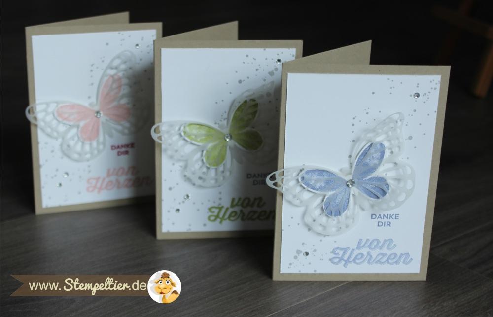 watercolor wings SChmetterlinge von Stampin Up Danke von Herzen Stempeltier bold butterfly framelits 1