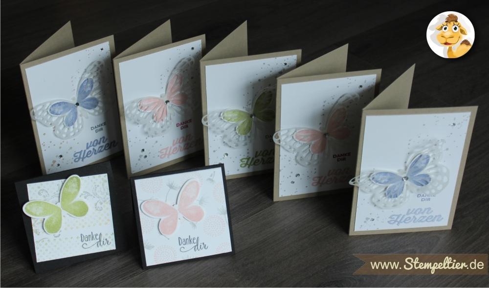watercolor wings Schmetterlinge von Stampin Up Danke von Herzen Stempeltier bold butterfly framelits 3