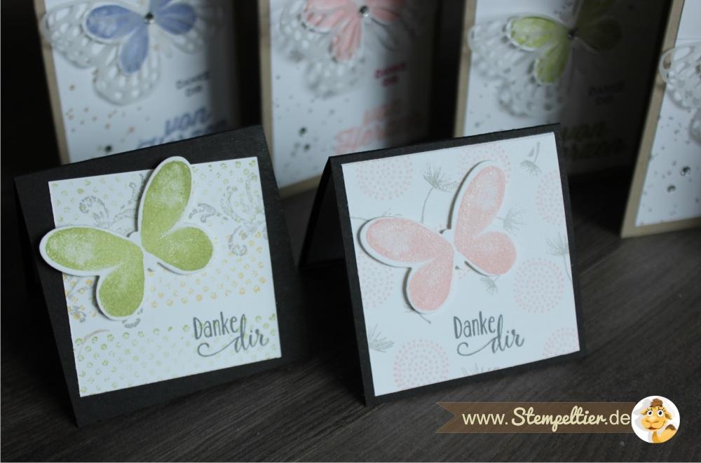 watercolor wings SChmetterlinge von Stampin Up Danke von Herzen Stempeltier bold butterfly framelits 4