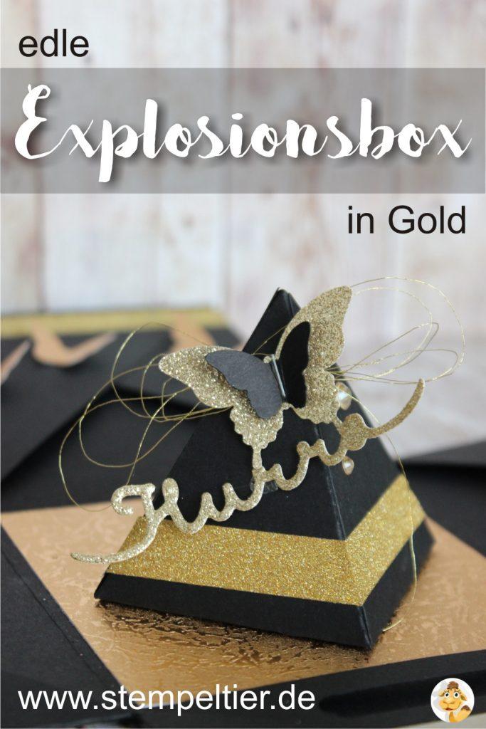 explosionsbox gold hurra schmetterling schwarz geburtstag explosion box 30 stempeltier